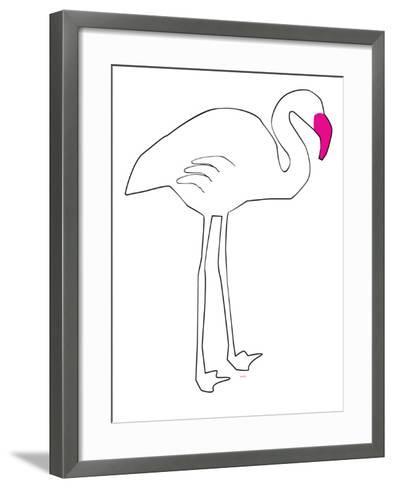 Pink Lone Flamingo-Avalisa-Framed Art Print