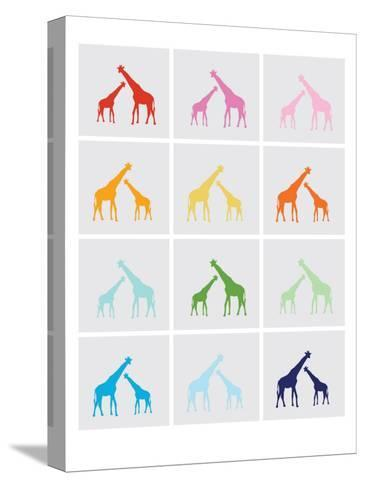 Rainbow Giraffe Squares on Grey-Avalisa-Stretched Canvas Print