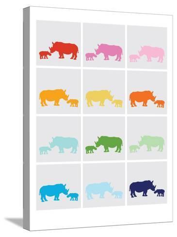 Rainbow Grey Rhinos-Avalisa-Stretched Canvas Print