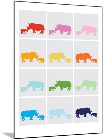 Rainbow Grey Rhinos-Avalisa-Mounted Art Print