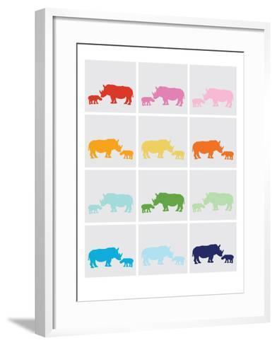 Rainbow Grey Rhinos-Avalisa-Framed Art Print