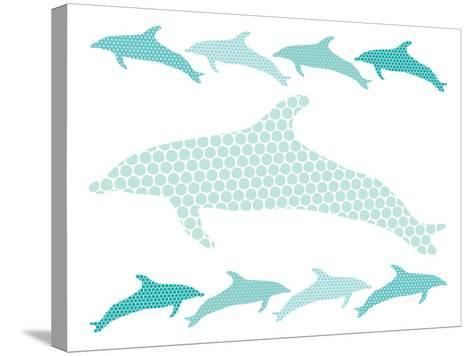 Seagreen Dolphin Family-Avalisa-Stretched Canvas Print