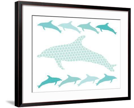 Seagreen Dolphin Family-Avalisa-Framed Art Print