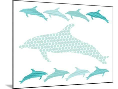 Seagreen Dolphin Family-Avalisa-Mounted Art Print
