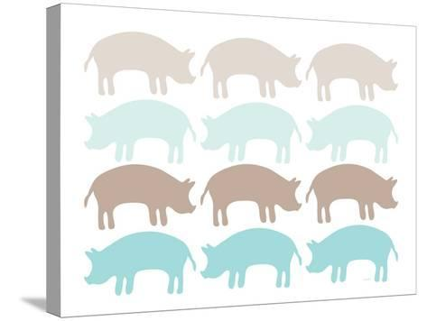 Seagreen Pig Family-Avalisa-Stretched Canvas Print