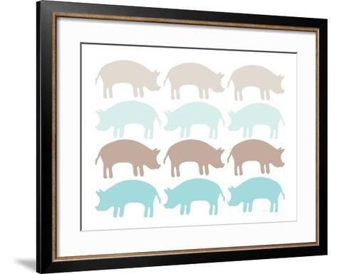 Seagreen Pig Family-Avalisa-Framed Art Print