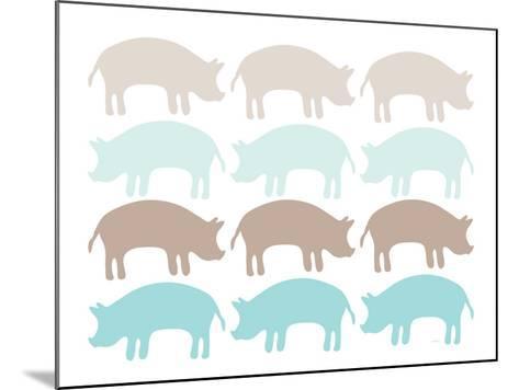 Seagreen Pig Family-Avalisa-Mounted Art Print