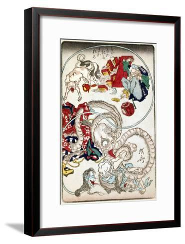Japanese Wood-Cut Print, Creatures with Long Necks Attack a Noodle Shop Customer, no.1-Lantern Press-Framed Art Print