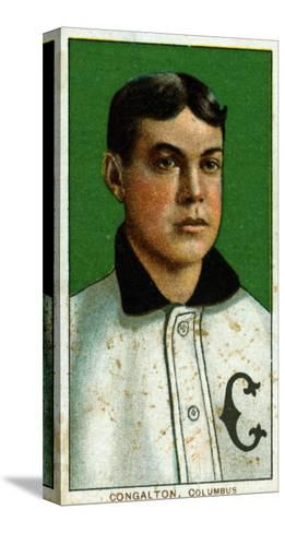 Columbus, OH, Columbus Minor League, Bunk Congalton, Baseball Card-Lantern Press-Stretched Canvas Print