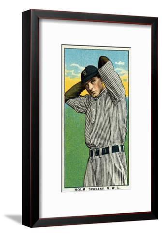 Spokane, WA, Spokane Northwestern League, Holm, Baseball Card-Lantern Press-Framed Art Print
