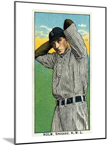 Spokane, WA, Spokane Northwestern League, Holm, Baseball Card-Lantern Press-Mounted Art Print