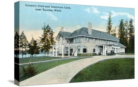 American Lake, Washington, Exterior View of the Country Club near Tacoma-Lantern Press-Stretched Canvas Print