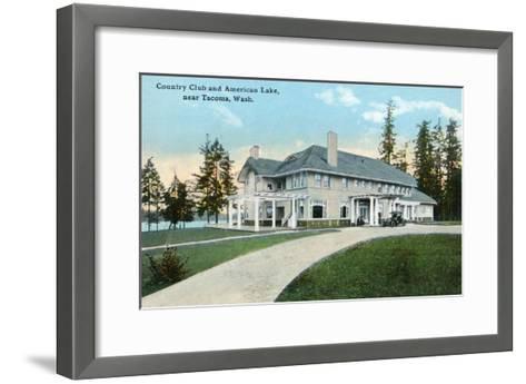 American Lake, Washington, Exterior View of the Country Club near Tacoma-Lantern Press-Framed Art Print