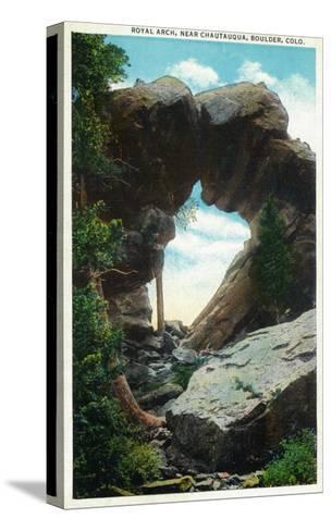 Boulder, Colorado, View of the Royal Arch Rock Formation near Chautauqua-Lantern Press-Stretched Canvas Print