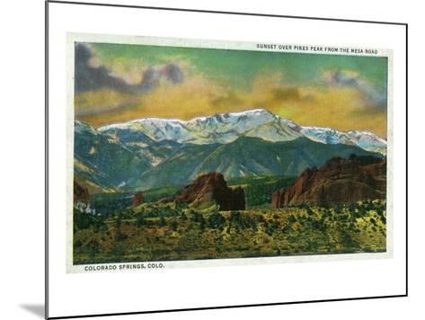 Colorado Springs, CO, Sunset over Pikes Peak View from the Mesa Road-Lantern Press-Mounted Art Print