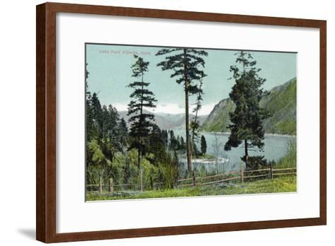 Lake Pend d'Oreille, Idaho, View of the Lake from a Fenced in Yard-Lantern Press-Framed Art Print
