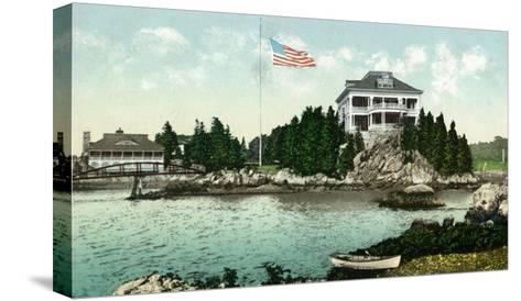 Narragansett, Rhode Island, Bay View of the Squantum Club-Lantern Press-Stretched Canvas Print