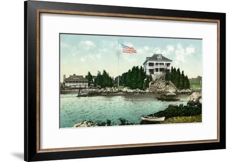 Narragansett, Rhode Island, Bay View of the Squantum Club-Lantern Press-Framed Art Print