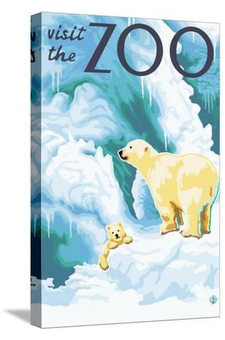 Visit the Zoo, Polar Bear and Cub-Lantern Press-Stretched Canvas Print