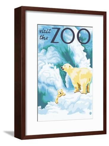 Visit the Zoo, Polar Bear and Cub-Lantern Press-Framed Art Print