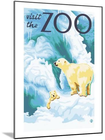 Visit the Zoo, Polar Bear and Cub-Lantern Press-Mounted Art Print