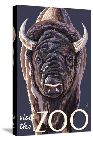 Visit the Zoo, Bison Up Close-Lantern Press-Stretched Canvas Print