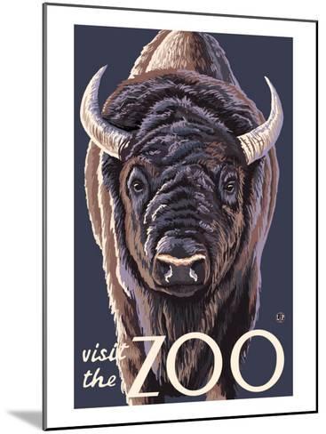 Visit the Zoo, Bison Up Close-Lantern Press-Mounted Art Print