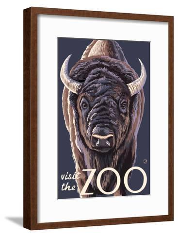 Visit the Zoo, Bison Up Close-Lantern Press-Framed Art Print
