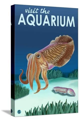 Visit the Aquarium, Cuttlefish Scene-Lantern Press-Stretched Canvas Print