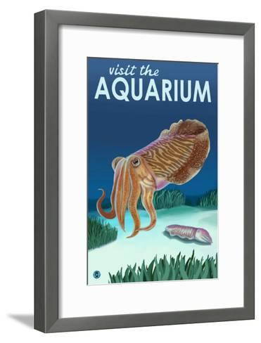 Visit the Aquarium, Cuttlefish Scene-Lantern Press-Framed Art Print