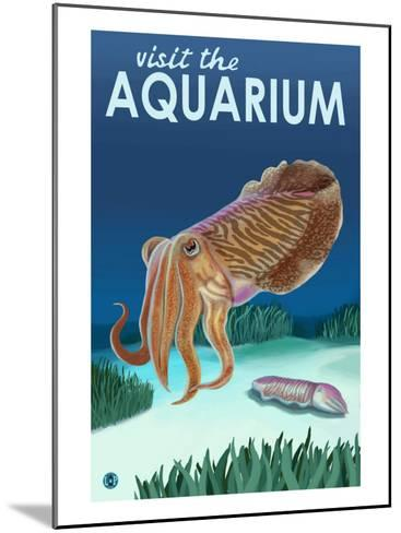 Visit the Aquarium, Cuttlefish Scene-Lantern Press-Mounted Art Print