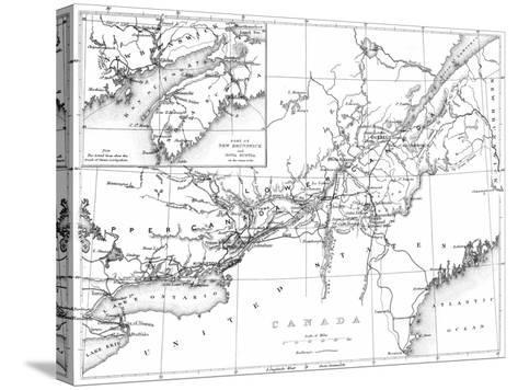 Canada, Detailed Map of Eastern Canada, New Brunswick, and Nova Scotia-Lantern Press-Stretched Canvas Print