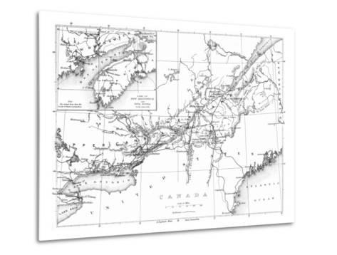 Canada, Detailed Map of Eastern Canada, New Brunswick, and Nova Scotia-Lantern Press-Metal Print