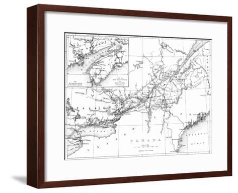 Canada, Detailed Map of Eastern Canada, New Brunswick, and Nova Scotia-Lantern Press-Framed Art Print