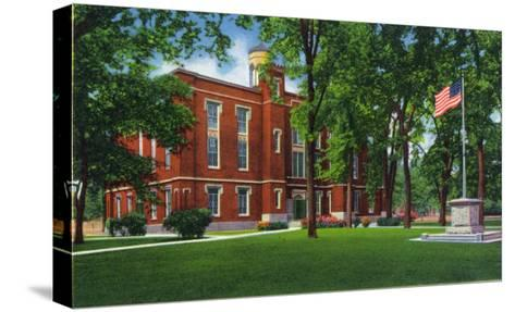 Galesburg, Illinois, Knox College View of Old Main-Lantern Press-Stretched Canvas Print
