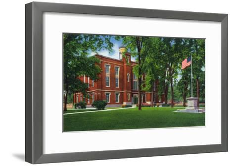 Galesburg, Illinois, Knox College View of Old Main-Lantern Press-Framed Art Print