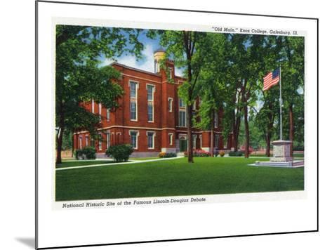 Galesburg, Illinois, Knox College View of Old Main-Lantern Press-Mounted Art Print