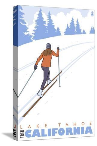 Cross Country Skier, Lake Tahoe, California-Lantern Press-Stretched Canvas Print