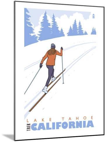 Cross Country Skier, Lake Tahoe, California-Lantern Press-Mounted Art Print