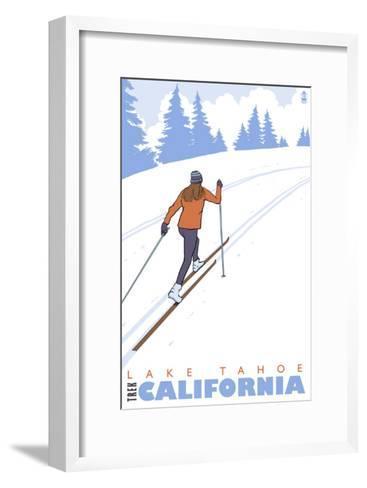 Cross Country Skier, Lake Tahoe, California-Lantern Press-Framed Art Print