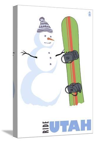 Utah, Snowman with Snowboard-Lantern Press-Stretched Canvas Print