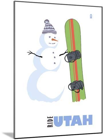 Utah, Snowman with Snowboard-Lantern Press-Mounted Art Print