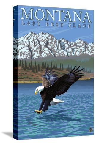 Montana, Last Best Place, Eagle Fishing-Lantern Press-Stretched Canvas Print