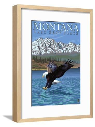 Montana, Last Best Place, Eagle Fishing-Lantern Press-Framed Art Print