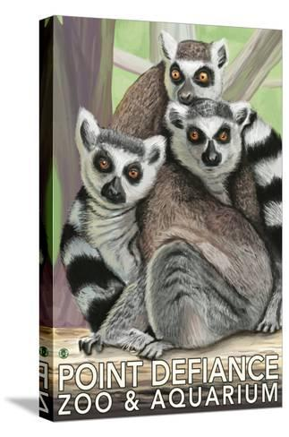 Tailed Lemurs, Point Defiance Zoo and Aquarium-Lantern Press-Stretched Canvas Print