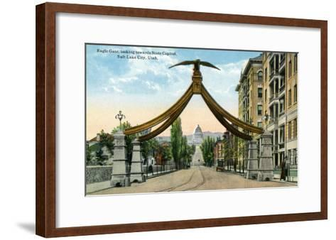 Salt Lake City, Utah, View of the Eagle Gate Facing the State Capitol Building-Lantern Press-Framed Art Print