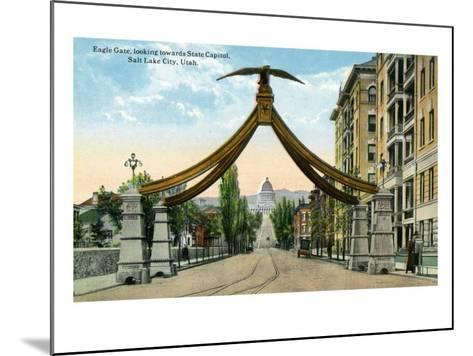 Salt Lake City, Utah, View of the Eagle Gate Facing the State Capitol Building-Lantern Press-Mounted Art Print