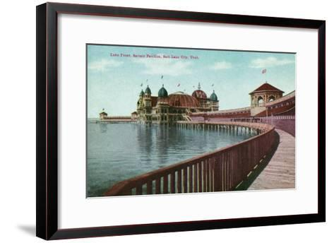 Utah, View of the Great Salt Lake Front from the Saltair Pavilion Boardwalk-Lantern Press-Framed Art Print