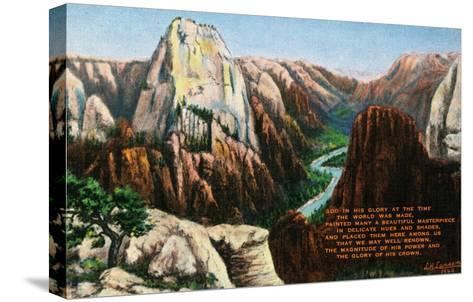 View of Angels Landing and the Great White Throne, Zion National Park, Utah-Lantern Press-Stretched Canvas Print