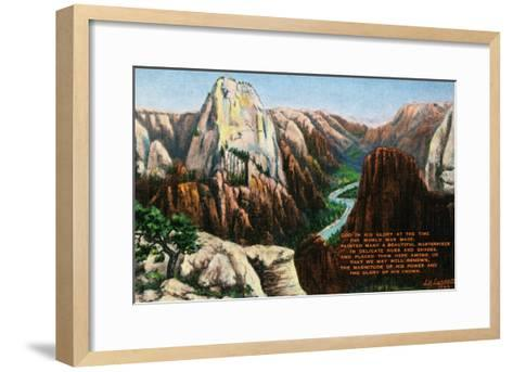 View of Angels Landing and the Great White Throne, Zion National Park, Utah-Lantern Press-Framed Art Print